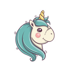 Cute unicorn head portrait unicorn isolated vector