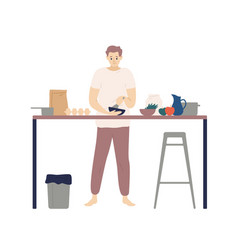 Cute young man cooking meals in kitchen smiling vector