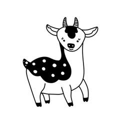doodle deer character vector image