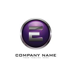 e 3d circle chrome letter logo icon design vector image