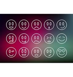 Emoticons line set vector image