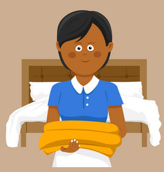 female housekeeper carrying towels in hotel vector image