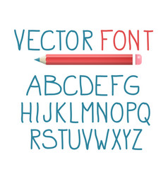 font with pencil alphabet typography design vector image