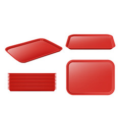 Food tray empty plastic plateau realistic vector