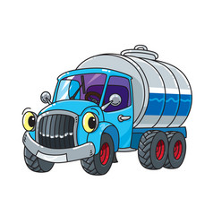 Funny small milk truck or tanker with eyes vector