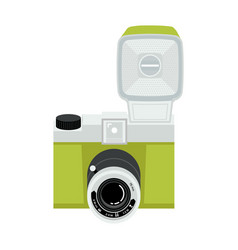 green and silver analog plastic camera with flash vector image