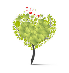 green tree symbol with flying hearts vector image