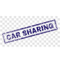 Grunge car sharing rectangle stamp vector