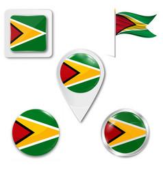Guyana flag round icon vector