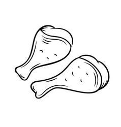 Hand drawn chicken legs icon vector