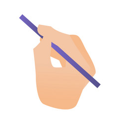 hand holding a pencil cartoon vector image