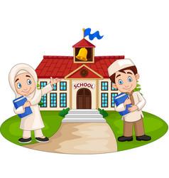 Happy cartoon muslim kids in front school build vector
