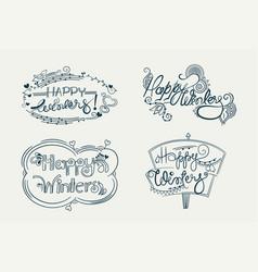 happy winters decorative doodle lettering design vector image