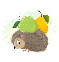 hedgehog with fruit vector image