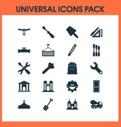 Industry icons set with drawing set scraper door vector