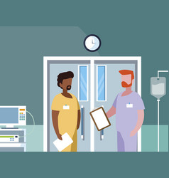 Interracial male medicine workers in operating vector