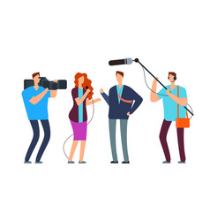 journalists take interview broadcasting reportage vector image