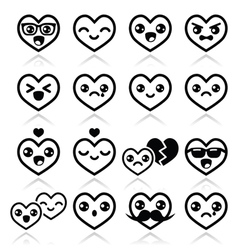 Kawaii hearts Valentines Day cute icons vector image