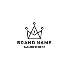 king crown keyhole key hole lock logo line outline vector image