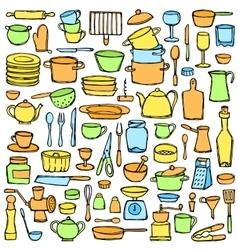 Kitchen colorful doodle set vector
