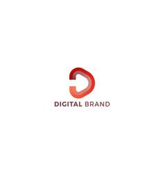 Letter d 3d orange colour creative corporate logo vector
