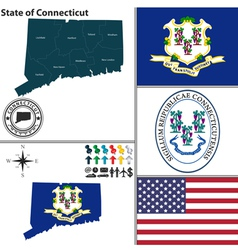 Map of Connecticut with seal vector image