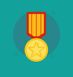 Medal award winner trophy flat vector