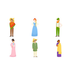 Men and women wearing various national costumes vector