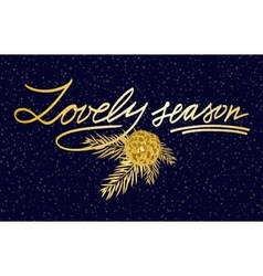 Merry Christmas Lettering greeting card vector image