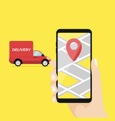 Mobile smart phone with app delivery tracking vector