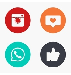 modern social network colorful icons set vector image