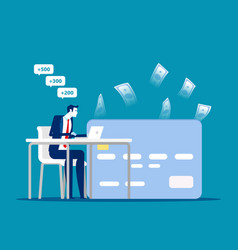 person with freelace on workplace online earn and vector image