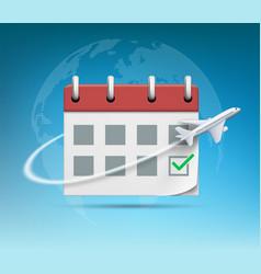 Plane flies around organizer or calendar vector