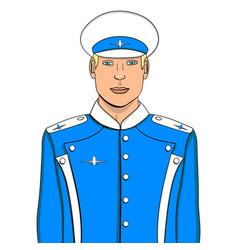 Pop art flyer man in blue uniform imitation comic vector