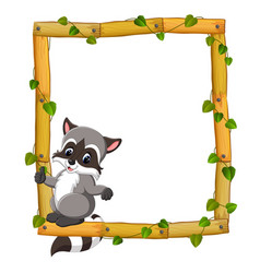 raccoon on the wood frame with roots and leaf vector image