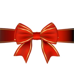 Red And Gold Bow And Ribbon Gift vector image