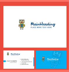 Robots logo design with tagline front and back vector