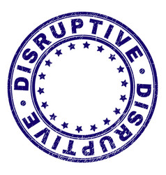 Scratched textured disruptive round stamp seal vector