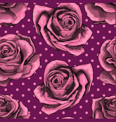 Seamless pattern background with pink roses vector