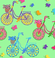 Seamless pattern of colorful bicycles vector image