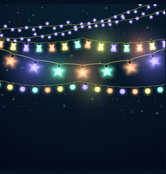 set colorful glowing light garlands vector image
