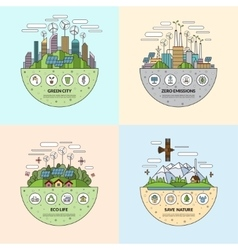 set ecology concept in flat style vector image