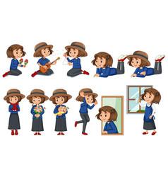 Set happy girl doing different activities vector
