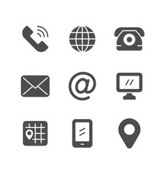 Set icons of contact us vector