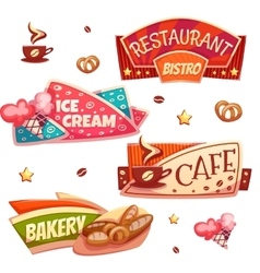 Set of brightly banners for cafe bakery vector