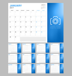 Set of calendar pages for 2017 year week starts vector