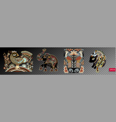 set of ethnic decorative animals and birds in vector image