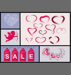 set of hearts and sales label vector image