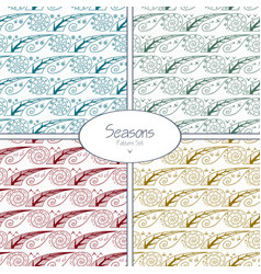 set of seamless patterns with four seasons vector image