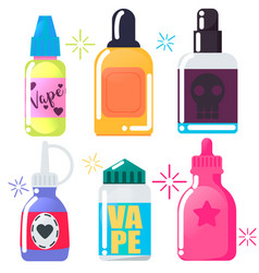 Set of six bright vape juice vector